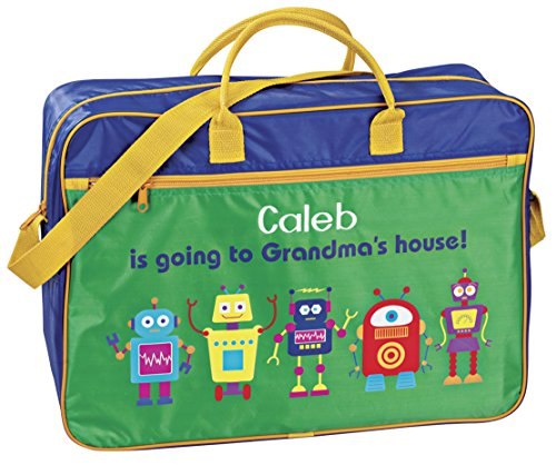 Personalized Boys Going to Grandma's Tote – Fun gift from Grandma – Present for Grandson Customize with Childs Name – Blue and Green