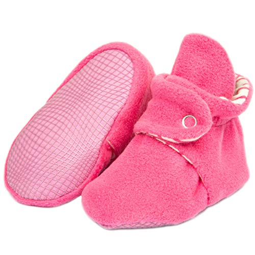 Ella Bonna Mini Fleece Booties with Non Skid Bottom | Flexible | for Baby Boys Girls Toddlers (12 Months, Pink)