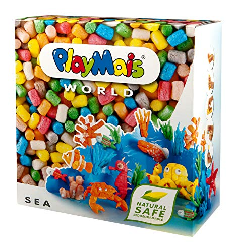 PlayMais World Sea Bastel-Set für Kinder ab 5 Jahren | Circa 1000 Stück, Vorlagen & Anleitungen zum Basteln | Geschenke für Kinder | Fördert Kreativität & Feinmotorik | Natürliches Spielzeug