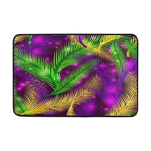 Kcldeci Nature Carnival - Felpudo de plumas para interiores (59,9 x 39,9 cm), diseño de palmeras de Mardi Gras