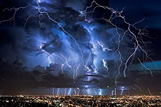 GLITZFAS Amazing Lightning Decorations Poster Storm Rain Clouds Sky Nature Pictures Printing - Art Silk Fabric Canvas Rolled Wall Poster Print - Multiple Colors Three Sizes
