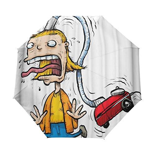 DUILLY Automatischer Regenschirm zum Öffnen/Schließen,Das Haar der lustigen Männer Wird Weg durch Auto-Staubsauger-Karikatur-Muster-Druck gesaugt,Winddichter,zusammenklappbarer Kleiner Sonnenschirm