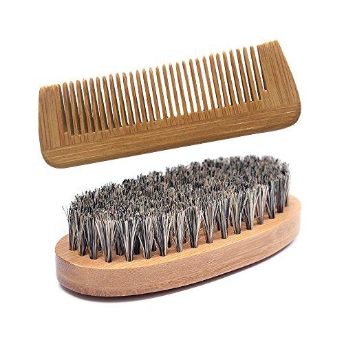 BOLUOBAO Peigne Barbe Homme Bamboo Kit Peigne Barbe Poil De Sanglier Antistatique Veritable Entretien Barbes Cheveux Soin (Un ensemble, Marron)