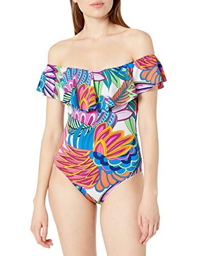 Trina Turk Women's Plus Size Off-The-Shoulder Ruffle Bandeau One Piece Swimsuit, Multi//Paradise Plume, 16W