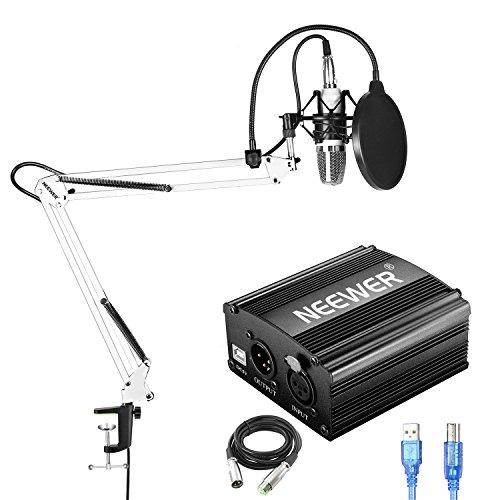 Neewer NW-700 Kit de Micrófono de Condensador con Fuente de Alimentación Fantasma USB 48V,NW-35 Soporte de Brazo de Tijera Suspensión,Montaje de Choque,Filtro de Pop para Grabación de Estudio(Blanco)