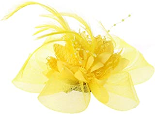 Hair Clips Fascinator with Flower Feather Beads Mesh Bridal Corsage Accessories