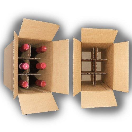 10x Weinkarton, Flaschenkarton 6 Flaschen z.B. 0,75l Bordeaux Weinflaschen