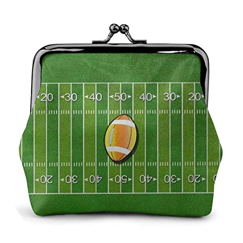 American Football Field Ball Sport Coin Purse Wallet Bule -Lo Small Leather Change Pouch Gift for Women