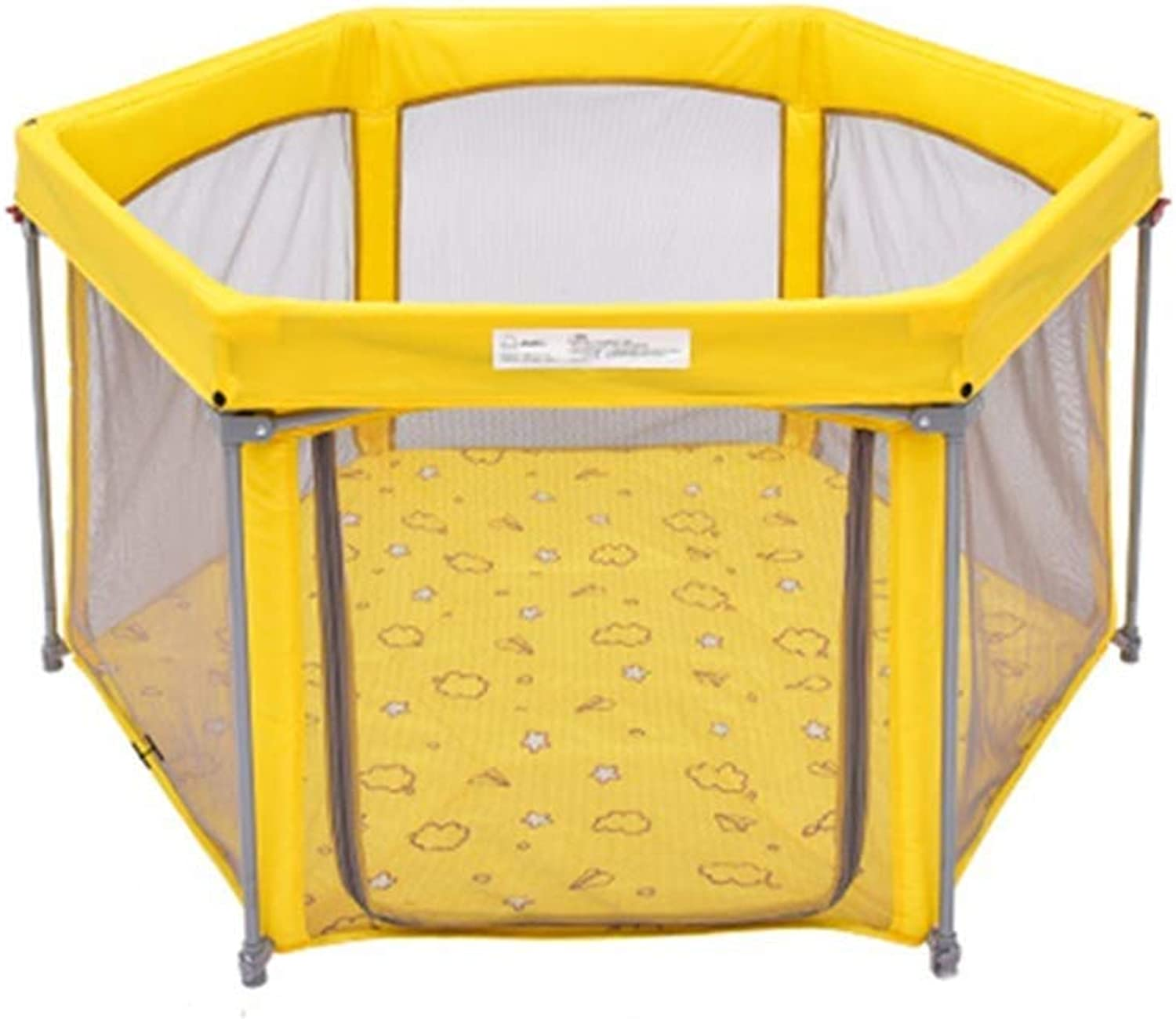Safety Fence Collapsible Portable Baby Independent Playground (color   Yellow)