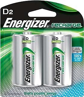 EnergizerRechargeable D Batteries, NiMH, 2500 mAh, 2 count