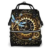 Gold Steampunk Black Golden Dragonfly Diaper Bag Backpack Waterproof Multi-Function Baby Changing Bags Maternity Nappy Bags Durable Large Capacity for Mom Dad Travel Baby Care