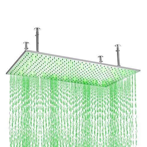 KunMai 20'x40' LED Stainless Steel Rectangle Bathroom Ceiling Mounted Rain Shower Head in Chrome(With LED, Chrome)