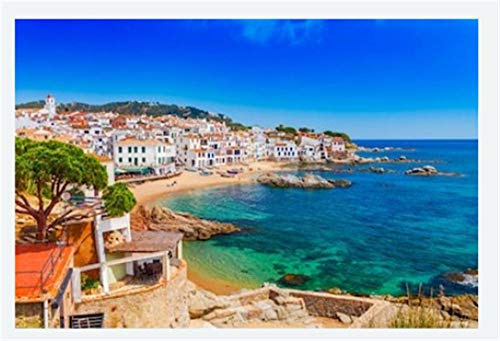 Diy Pintura Pintura Por Decoración Del Hogar Digital Kit Kit De Pintura 40X50Cm Scenic Fisherman Village With Nice Sand Beach And Clear Blue Water In Nice Bay