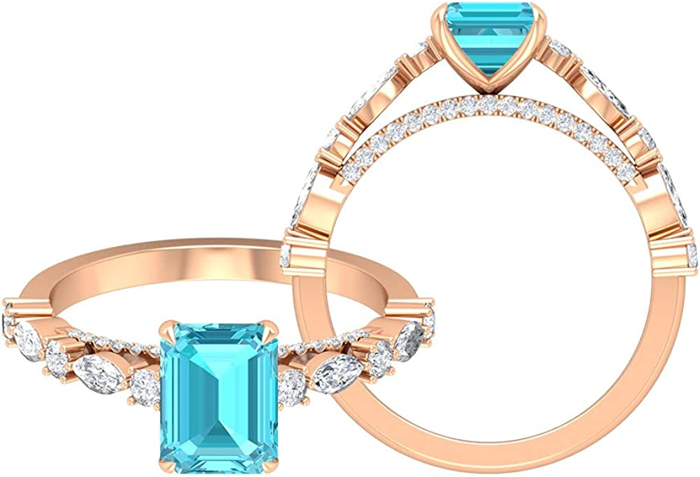 1.75 CT Swiss Blue New Free Shipping Topaz Opening large release sale Solitaire 1 Ring 2 D-VSSI Moissanit