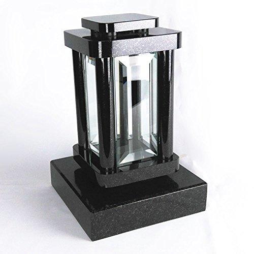 designgrab Modern Grablampe mit Sockel aus Granit Schwedisch Black SS1 schwarz, Grabschmuckset