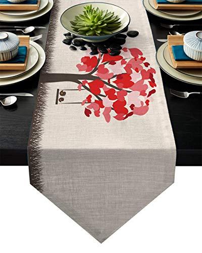 Tischläufer Kommode Schals, Valentinstag Baum der Liebe Schaukel und Vögel Küche Tischläufer 33X229CM