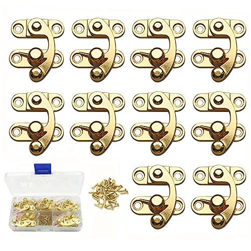 sempiterno ロック アンティーク亜鉛合金ボックス南京錠掛け金フック 亜鉛合金ホーンロック 木製ボックスギフトボックスバックル ネジと収納ボックス付き 10セット( ゴールド 右ロック)