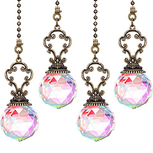 4 Pieces Ceiling Fan Pull Chains Crystal Prism Ball Vintage Pendant Ball Extender Light Pull Chain Extension Ornament with Connector for Bathroom Toilet Ceiling Light Fan Desk Lamp