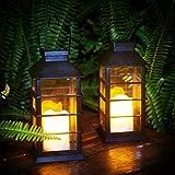 Lanterne solaire LED Bougie sans flamme Bougie de jardin Lanterne solaire...