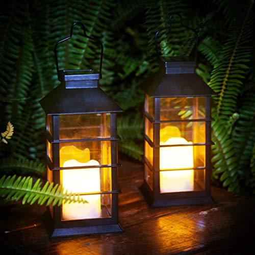 newvivid Solar Lantern with LED Flameless Candles Solar Powered Lights Yard Decor Outdoor Decorative for Table Backyard Party and Garden (Black, 2PACK)