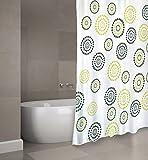 "MSV Cotexsa by Premium Anti-Schimmel Textil Duschvorhang - Anti-Bakteriell, waschbar, 100prozent wasserdicht, mit 12 Duschvorhangringen - Polyester, ""Dots"" Grün 180x200cm – Made in Spain"