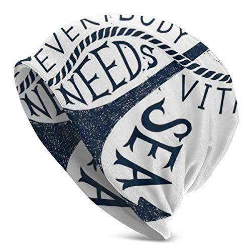 Peeeenny Beeen Beanie Men Women - Everybody Needs Vitamin Sea Lettering On Sketched Anchor Figure - Unisex Cuffed Plain Skull Knit Hat Cap