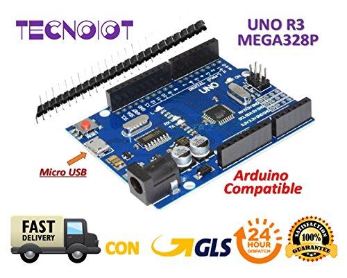 TECNOIOT R3 REV3 ATmega 328 16U2 CH340 Micro USB 100% kompatibel mit Arduino