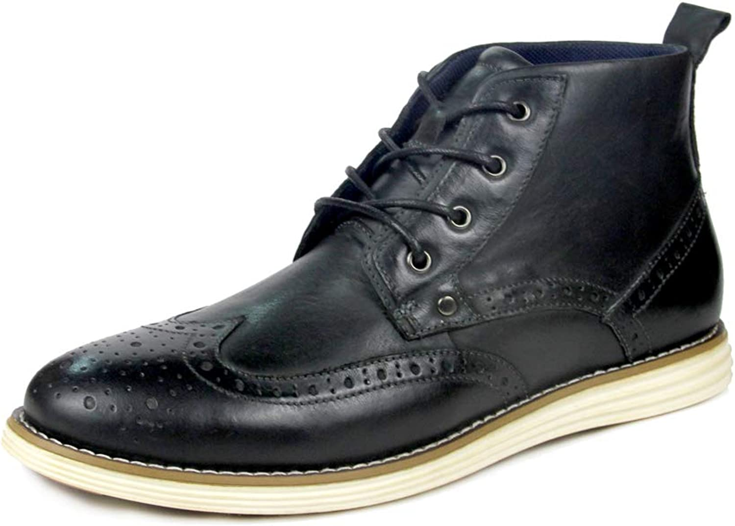 W&TT Men's Solid color Leather Casual Martin Boots,Black,46