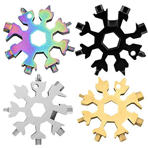 4 fette fiocco di neve multifunzione,18-in-1 Multi-Tool Snowflake, Multi Attrezzo in Acciaio...