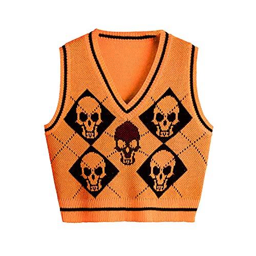 Chaleco de punto estampado de esqueleto y argyle para mujer, cuello en V, sin mangas, camiseta de punto para niña, naranja, L