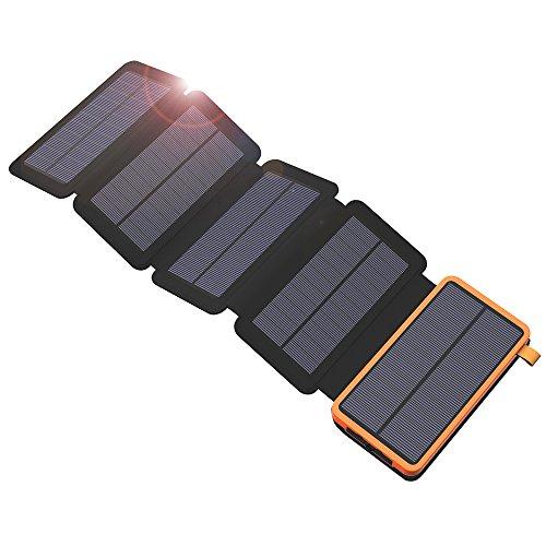 X-DRAGON Solar Powerbank 20000mAh Wasserdichte Solar Panel Ladegerät Dual USB, LED Taschenlampe Externer Akku für iPhone X/8/8 Plus/7/6s/6 Plus, iPad, Samsung Galaxy, Android, Huawei - Ora