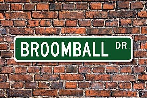Letrero de Broomball de Broomball de regalo de Broomball de Broomball Fan Hockey sobre hielo con escobas jugador de hockey al aire libre Street Sign/metro señal 4x40 cm