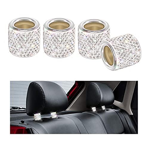 Collares de reposacabezas de coche de cristal para reposacabezas de coche, camión, vehículo SUV (plata)
