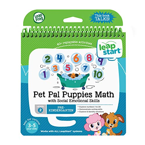 LeapFrog LeapStart Pre-Kindergarten Activity Book: Pet Pal Puppies Math and Social Emotional Skills, Level 2, Great Gift for Kids, Toddlers, Toy for Boys and Girls, Ages 3, 4, 5