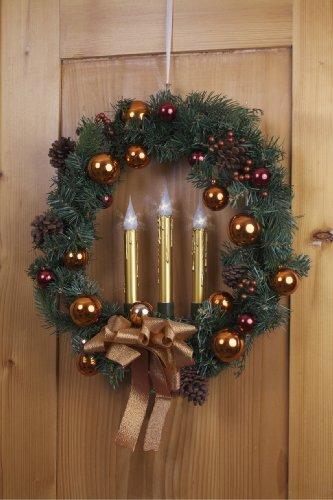 My Home Weihnachtskranz mit LED-Beleuchtung, rot