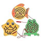STOBOK - 3 pz labirinto magnetico, puzzle a forma di rana stella, pesce con penna magnetica e perline colorate, gioco educativo per bambini