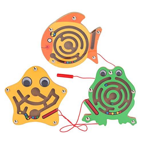 STOBOK Labyrinth Puzzle Magnetische Perlen Maze Spielzeug Brettspiel Frosch Stern Fisch Form Kinder Lernspielzeug 3 Stück