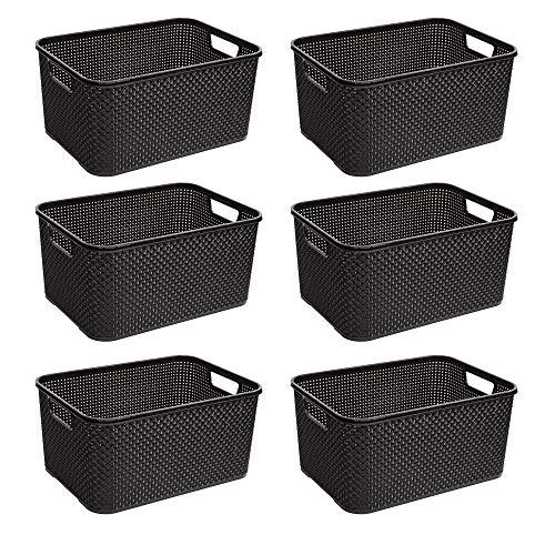BranQ - Home essential Cestino in Rattan Design Set da 6, Plastica PP, Antracite, 38 x 27,8 x 18,5 cm (L x P x A)