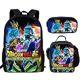 Woisttop Anime Dragon Ball Z - Mochila escolar para niños con bolsa de almuerzo y portalápices 3 en 1 Multicolor Dragon Ball 4 Large