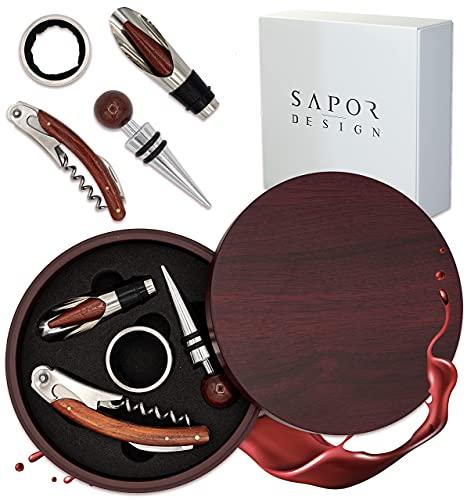 Korkenzieher, Luxus Wein Öffner mit Eleganter Geschenkbox, Sommelier Set mit Flaschenöffner, Tropfring, Weinverschluss & Weinausgießer