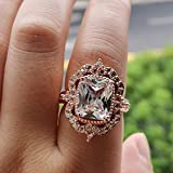 XIALV 7 ct Vintage Rose Gold Tone Cubic Zirconia CZ Ring Women's Wedding Engagement Statement Ring Gift (US code 8)