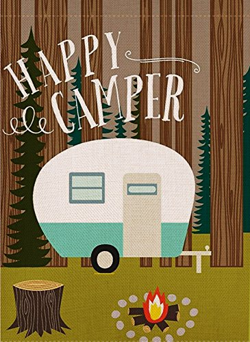 Happy Camper Garden Flag made our list of camper gifts that make perfect RV gifts which are unique gifts for RV owners