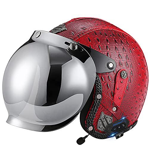 Casco retro de cuero de la PU para moto Casco Bluetooth 3/4 moto Chopper Casco DOT/ECE Aprobado para bicicleta Casco jet Casco retro para moto G,XL~61-62cm