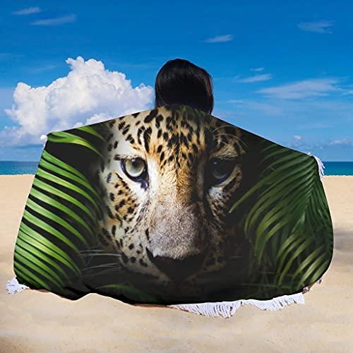Rainforest Leopard - Esterilla de yoga con borlas para niños o adultos (150 cm), diseño de leopardo, color blanco