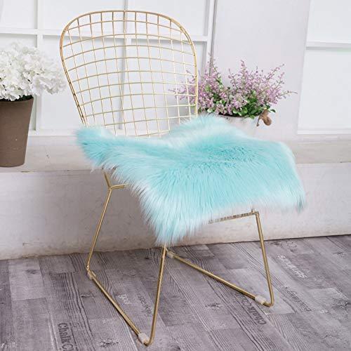 HOMRanger 2pcs Artificial Wool Fur,Square Fluffy Chair Cushion,Solid Color Plush Soft Cushion,Sheepskin Imitation Seat Pad,Household Decoration Mat