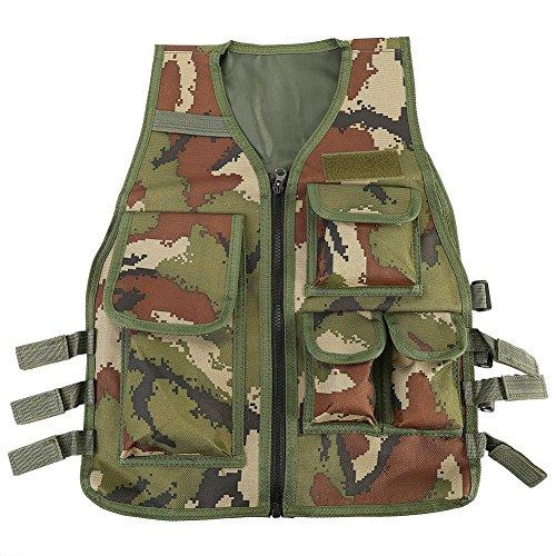 Taktische Weste Kinder,Taschen-Tactical Weste Paintball Weste Nylon Outdoor Multifunktion Weste Verstellbare Outdoor CS Spiel mit 5 Kleinen Taschen für Kinder von 8-14 Jahren(Army Green Camouflage)