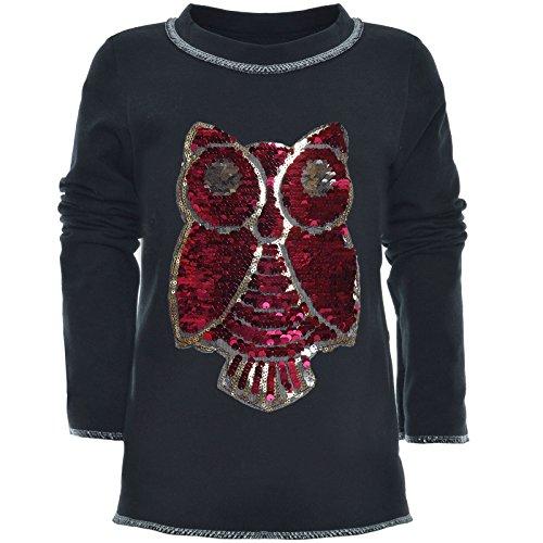 BEZLIT Mädchen Wende-Pailletten Long Shirt Bluse Pullover Langarm Sweat Shirt 21005 Schwarz Größe 164