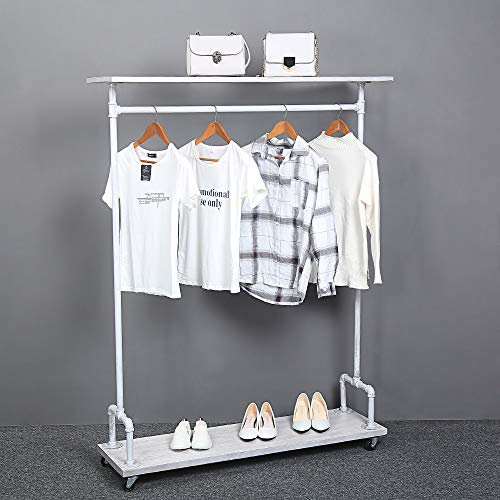 Industrial Pipe Clothing Rack on WheelsVintage Rolling Rack for Hanging ClothesRetail Display Clothing Racks with ShelvesHeavy Duty Clothes RackWooden Garment Rack with Wheels