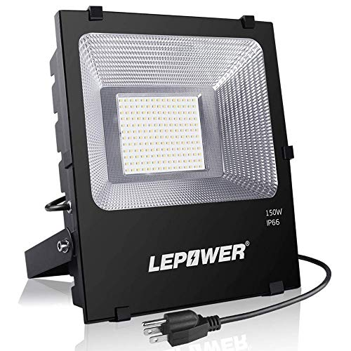LEPOWER 150W LED Flood Light Outdoor, Super Bright LED Work Lights with Plug, 11000lm 6000K White Light, IP66 Waterproof Outdoor Floodlights for Garage, Playground, Basketball Court, Yard