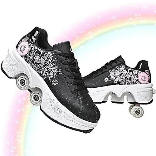 Patines Mujer Patines Quad Niños Zapatos con Ruedas para Niñas Zapatos Unisex con Rueda Zapatillas Deportes Al Aire Libre De Deporte Rodillo Shoes Sneakers